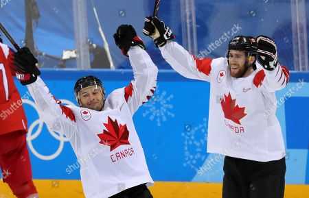 Stock Picture of Wojtek Wolski (L) of Canada celebrates after scoring during the Men's Ice Hockey bronze medal game between Czech Republic and Canada at the Gangneung Hockey Centre during the PyeongChang 2018 Winter Olympic Games, in Gangneung, South Korea, 24 February 2018.