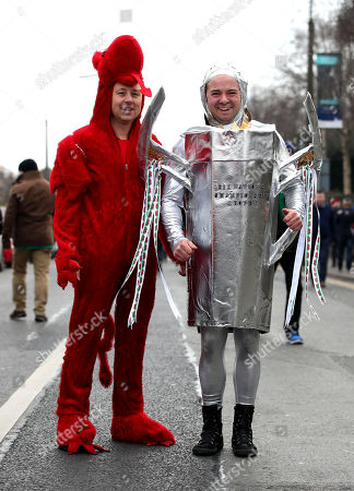 Ireland vs Wales. Wales fans Andrew Doyle and Lee Llewellyn