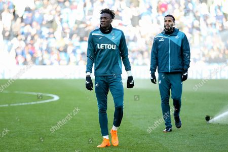 Swansea City striker Tammy Abraham (10) in warm up during the Premier League match between Brighton and Hove Albion and Swansea City at the American Express Community Stadium, Brighton and Hove. Picture by Phil Duncan