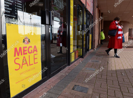 A sign at the Sunderland club shop displays 'Mega Sale' in the week which owner Ellis Short has slashed the price to £50 million and then potential owners can have the club for free as long as they take on board the club's debts