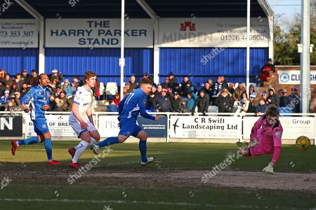 Jake Robinson of Billericay is denied by Jonathan North of Wealdstone during Billericay Town vs Wealdstone , Buildbase FA Trophy Football at New Lodge on 24th February 2018