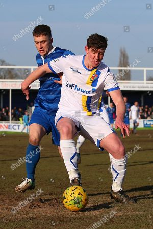 Jake Robinson of Billericay and Glenn Wilson of Wealdstone during Billericay Town vs Wealdstone , Buildbase FA Trophy Football at New Lodge on 24th February 2018