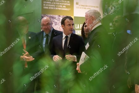 Stock Photo of French Agriculture Minister Stephane Travert, Emmanuel Macron and Jean-Yves Caullet (ONF)