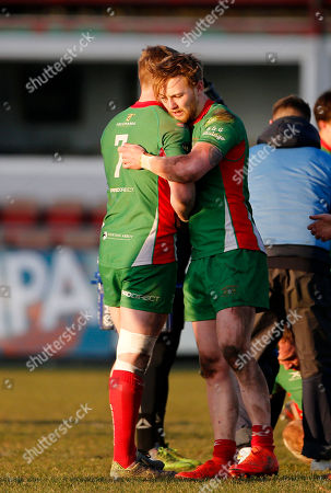 Harrison Cully of Plymouth Albion celebrates the win with Sam Daly of Plymouth Albion during the National Division 1 match between Birmingham Moseley v Plymouth Albion at Billesley Common, Birmingham, Midlands on February 24th 2018, UK.