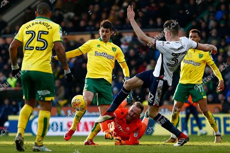 Bolton Wanderers defender, Reece Burke (32) clears the ball during the EFL Sky Bet Championship match between Norwich City and Bolton Wanderers at Carrow Road, Norwich. Picture by Phil Chaplin