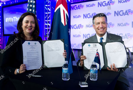 Brian Sandoval, Annastacia Palaszczuk. Australia Queensland Premier Annastacia Palaszczuk and National Governors Association (NGA) Chair, Gov. Brian Sandoval of Nevada show a Sister State agreement between Nevada and Queensland, during the National Governor Association 2018 winter meeting,, in Washington