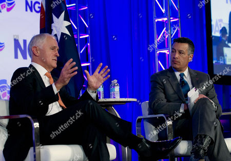 Malcolm Turnbull, Brian Sandoval. National Governors Association (NGA) Chair, Gov. Brian Sandoval of Nevada, right, with Australian Prime Minister Malcolm Turnbull speak during the National Governor Association 2018 winter meeting,, in Washington