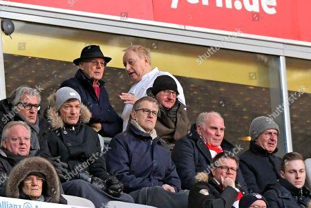 24.02.2018, Football 1.Liga 2017/2018, 24. match day, FC Bayern Muenchen - Hertha BSC Berlin, in Allianz Arena Muenchen. Franz Beckenbauer (li) and Alfons Schuhbeck (middle) president Uli Hoeness and Karlheinz Rumenigge (FC Bayern).
