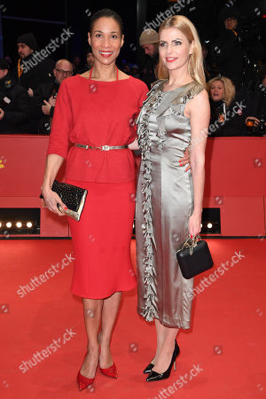 Annabelle Mandeng (L) and Tanja Buelter arrive for the Closing and Awards Ceremony of the 68th annual Berlin International Film Festival (Berlinale), in Berlin, Germany, 24 February 2018. The Berlinale runs from 15 to 25 February.