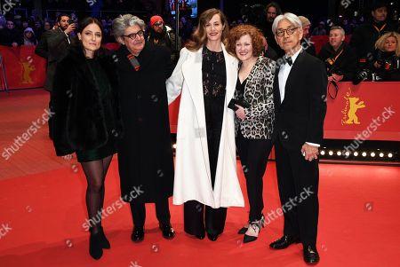 (L-R) Jury members Adele Romanski, Chema Prado, Cecile de France, Stephanie Zacharek, Ryuichi Sakamoto arrive for the Closing and Awards Ceremony of the 68th annual Berlin International Film Festival (Berlinale), in Berlin, Germany, 24 February 2018. The Berlinale runs from 15 to 25 February.