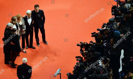 (L-R) Jury members Adele Romanski, Chema Prado, Cecile de France, Stephanie Zacharek, Ryuichi Sakamoto and jury president Tom Tykwer arrive for the Closing and Awards Ceremony of the 68th annual Berlin International Film Festival (Berlinale), in Berlin, Germany, 24 February 2018. The Berlinale runs from 15 to 25 February.