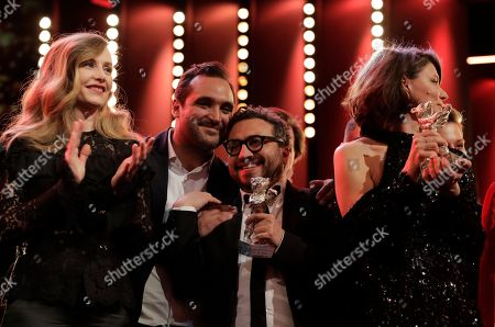 Cecile de France, Alonso Ruizpalacios, Manuel Alcala and Monika Szumowska, from left, during the awarding ceremony of the 68th edition of the International Film Festival Berlin, Berlinale, in Berlin, Germany