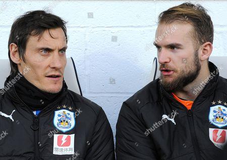 Stock Image of Dean Whitehead of Huddersfield Town talks to Joel Coleman of Huddersfield Town -Mandatory by-line: Nizaam Jones/JMP