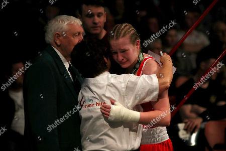 Womens 60kg Final. Amy Broadhurst dejected after losing to Kelly Harrington