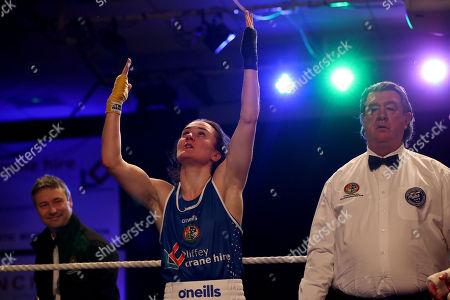 Womens 60kg Final. Kelly Harrington celebrates her win