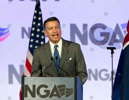 National Governors Association (NGA) Chair, Gov. Brian Sandoval of Nevada speaks during the National Governor Association 2018 winter meeting,, in Washington