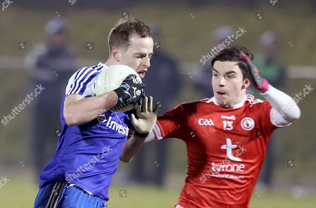Monaghan vs Tyrone. Monaghan's Conor Boyle with Lee Brennan of Tyrone