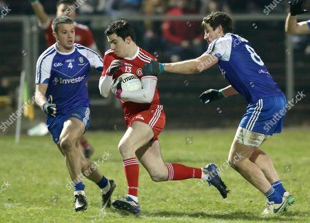 Monaghan vs Tyrone. Monaghan's Ryan Wylie and Darren Hughes with Lee Brennan of Tyrone
