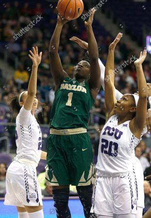 Dekeiya Cohen ; Lauren Heard. Baylor forward Dekeiya Cohen (1) goes up for a shot as TCU guard Lauren Heard (20) defends during the first half of an NCAA college basketball game, in Fort Worth, Texas. Baylor won 85-53