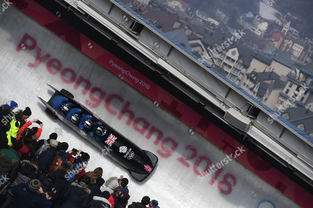 Brad Hall, Nick Gleeson, Joel Fearon and Greg Cackett of Great Britain in action during the Men's 4-man Bobsleigh competition at the Olympic Sliding Centre during the PyeongChang 2018 Olympic Games, South Korea, 25 February 2018.