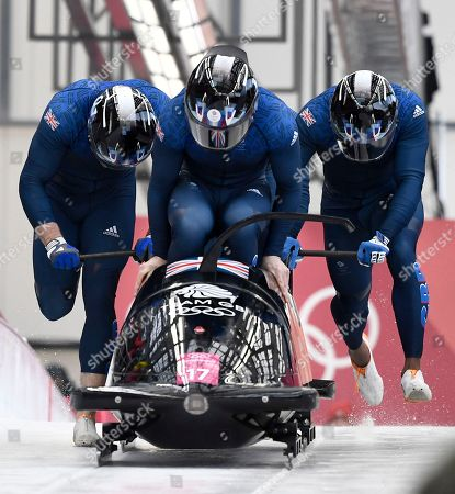 Brad Hall, Nick Gleeson, Joel Feearon and Greg Cackett of Great Britain in action during the Men's 4-man Bobsleigh competition at the Olympic Sliding Centre during the PyeongChang 2018 Olympic Games, South Korea, 25 February 2018.