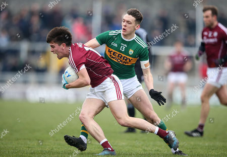 Kerry vs Galway. Kerry's David Clifford tackles Sean Kelly of Galway