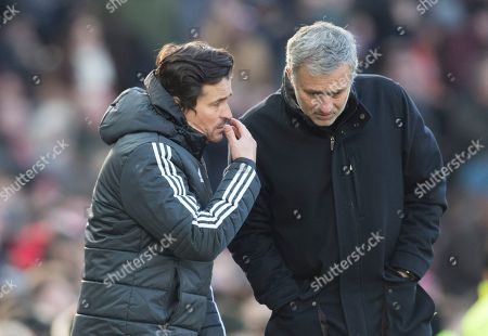 Manchester United manager Jose Mourinho with assistant Rui Faria