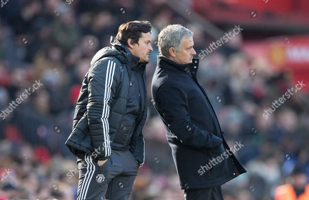 Manchester United manager Jose Mourinho with his assistant Rui Faria