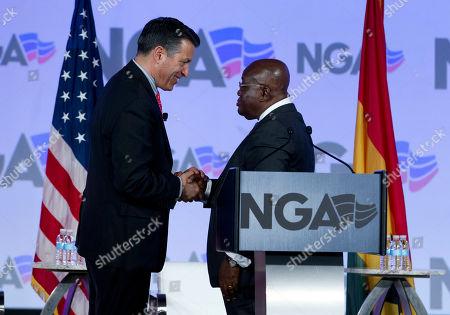 Nana Akufo-Addo, Brian Sandoval. National Governors Association (NGA) Chair, Nevada Gov. Brian Sandoval, left, shake hands with Ghana President Nana Akufo-Addo at the National Governor Association winter meeting, in Washington