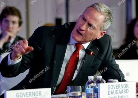 Stock Image of South Dakota Gov. Dennis Daugaard speaks at the panel Pathways to Prosperity during the National Governor Association 2018 winter meeting,, in Washington