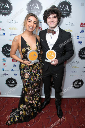 Lucie Shorthouse accepts the award for Best Supporting Actress in a Musical for Everybody's Talking About Jamie and Fra Fee accepts the award for Best Supporting Actor in a Play for The Ferryman