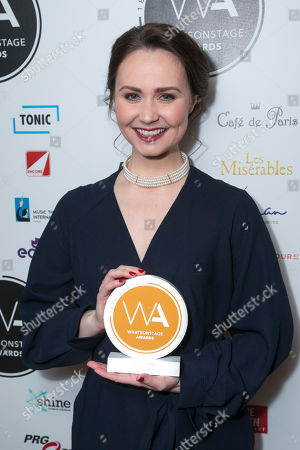 Zoe Rainey accepts the award for Best Video Design for An American in Paris on behalf of 59 Productions