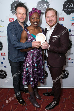 Jamie Glover, Rakie Ayola and Thomas Aldridge accept the award for Best West End Show for Harry Potter and the Cursed Child