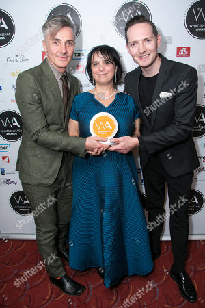 Jonathan Butterell, Nica Burns and Dan Gillespie Sells accept the award for Best New Musical for Everybody's Talking About Jamie