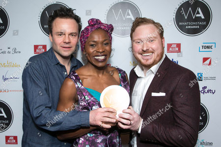 Stock Photo of Jamie Glover, Rakie Ayola and Thomas Aldridge accept the award for Best West End Show for Harry Potter and the Cursed Child