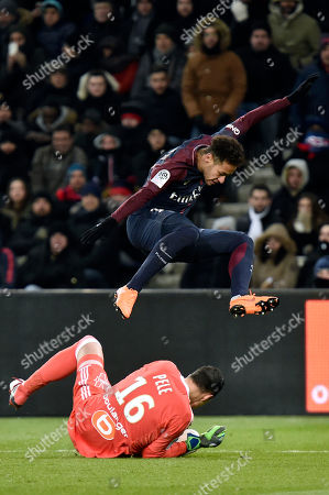 Neymar (up) of Paris Saint Germain and Marseille goalkeeper Yohann Pele (down) in action during the French Ligue 1 soccer match between Paris Saint-Germain (PSG) and Olympique de Marseille at the Parc des Princes stadium in Paris, France, 25 February 2018.