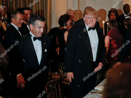 Donald Trump, Brian Sandoval. President Donald Trump, right, and Nevada Gov. and Chair of the National Governors Association (NGA) Brian Sandoval, left, take their seats at the Governors' Ball in the State Dining Room of the White House in Washington
