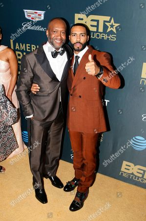 Nicole Friday, Omari Hardwick. Jeff Friday, President & CEO ABFF Ventures LLC and Executive Producer of ABFF Honors, left, and Omari Hardwick are seen at the 2018 American Black Film Festival Honors at The Beverly Hilton, in Beverly Hills, Calif
