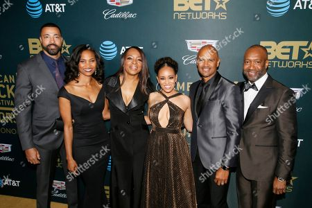 Timon Kyle Durrett, Nicole Friday, Tina Lifford, Dawn-Lyen Gardner, Dondre Whitfield, Jeff Friday. Timon Kyle Durrett, from left, Nicole Friday, Tina Lifford, Dawn-Lyen Gardner, Dondre Whitfield and Jeff Friday, President & CEO ABFF Ventures LLC and Executive Producer of ABFF Honors, are seen at the 2018 American Black Film Festival Honors at The Beverly Hilton, in Beverly Hills, Calif