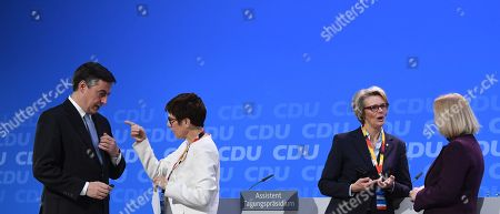 (L-R) David McAllister, Member of the European Parliament, Annegret Kramp-Karrenbauer, designated General Secretary, Anja Karliczek, designated Minister of Education and Research and Johanna Wanka, German Education Minister prepare for the start of the 30th convention of the Christian Democratic Union (CDU) party in Berlin, Germany, 26 February 2018.  The party delegates are scheduled to vote on the start of the CDU into a government coalition with the Social Democratic Party (SPD) and the Christian Social Union (CSU). On the previous day, the CDU party leader and German Chancellor Angela Merkel presented her list of candidates for the CDU cabinet members.