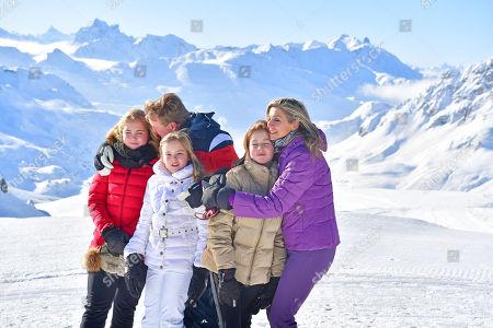 King Willem Alexander, Queen Maxima with daughters Crown Princess Amalia, Princess Alexia, Princess Ariane