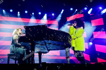 Gracce Davies and Shereen Cutkelvin perform during The X-Factor Tour 2018 at the Genting Arena