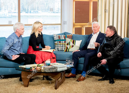 Phillip Schofield and Holly Willoughby with Roy Walker and Shaun Ryder