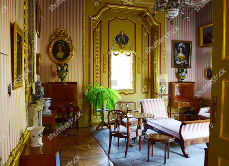 Stock Picture of The photo shows the Boudoir, or the lady's room, of the early classicist Nieborow Palace in central Poland. Lee Radziwill, sister-in-law of John F. Kennedy, was married to the son of Prince Janusz Radziwill, the palace's last owner before it was seized