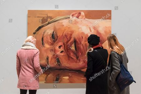 Visitors view 'Reverse', 2002-3, by Jenny Saville. Preview of 'All Too Human', an exhibition at Tate Britain which explores how artists in Britain have stretched the possibilities of paint in order to capture life around them.