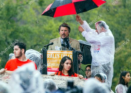 Florida Sen. Gary Farmer speaks to the 1,000 protesters gathered at the Florida Capitol for the Rally in Tally in Tallahassee, Fla