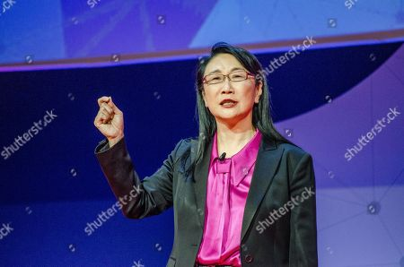 Cher Wang, HTC Chairwoman, on stage during her speech at the Key note Nº 3 of Barcelona Mobile World Congress.