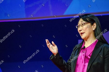 Stock Picture of Cher Wang, HTC Chairwoman, on stage during her speech at the Key note Nº 3 of Barcelona Mobile World Congress