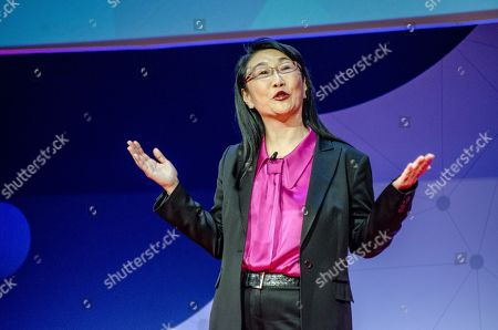 Stock Photo of Cher Wang, HTC Chairwoman, on stage during her speech at the Key note Nº 3 of Barcelona Mobile World Congress.