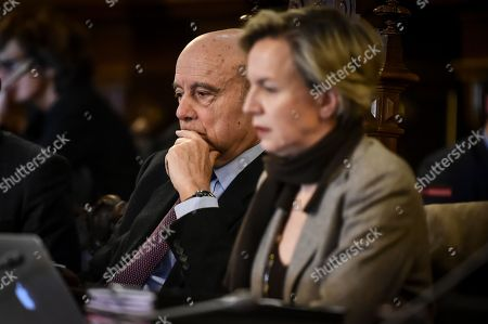 French right-wing Les Republicains party vice-president and Bordeaux's deputy Virginie Calmels and Bordeaux's mayor Alain Juppe
